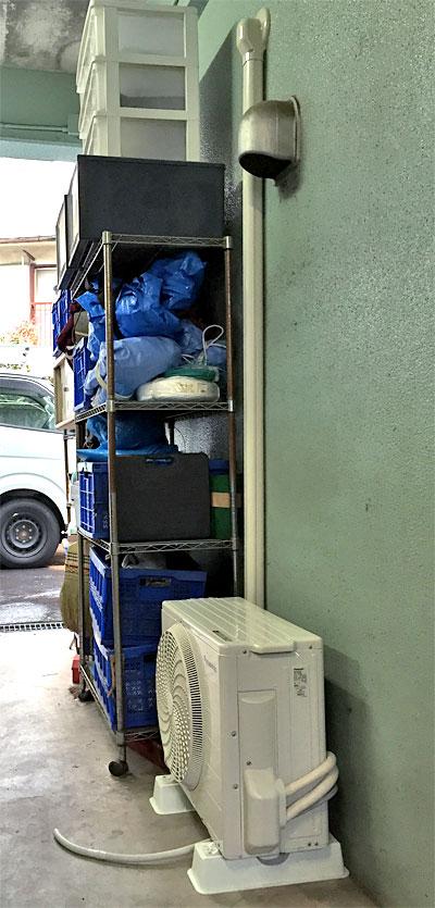 室外機 ガレージ内に設置 室外化粧カバーあり:パナソニック CS-284CF