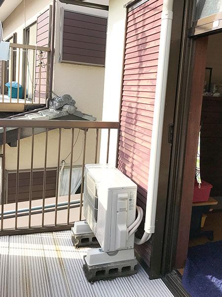 室外機 ベランダ置き 室外化粧カバーあり:三菱 霧ヶ峰 MSZ-GV2518-W