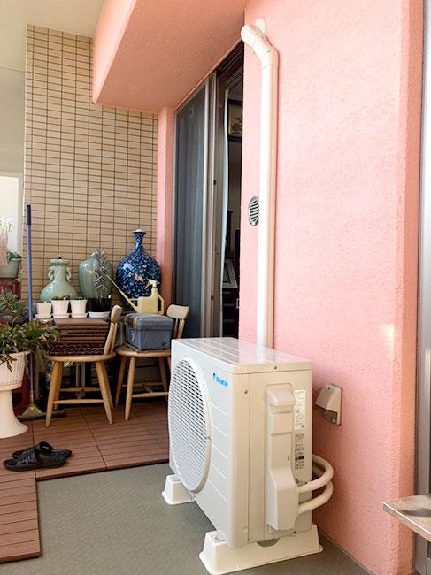 室外機 ベランダ置き 室外化粧カバーあり:ダイキン S22XTES